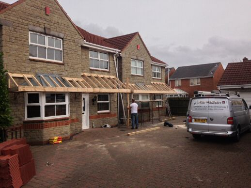 Wooden framework in place & Porch Canopy Weston Super Mare